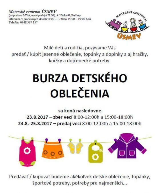 ad1757a677ac V Materskom centre Úsmev sa tento týždeň uskutoční burza detského  oblečenia. Zber vecí